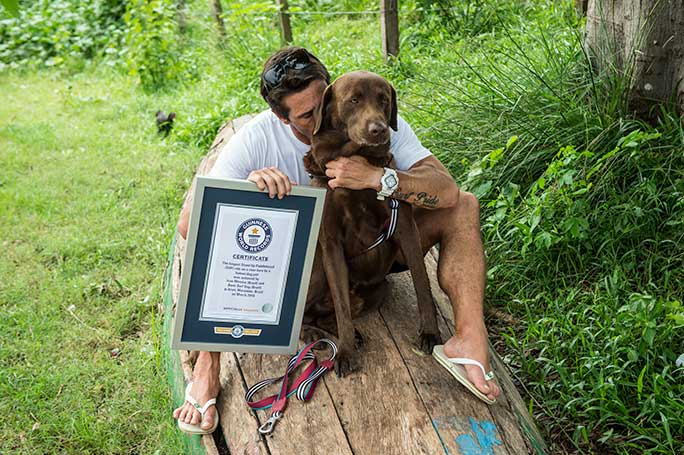 Longest SUP ride on a river bore by a humandog pair certificate presentation
