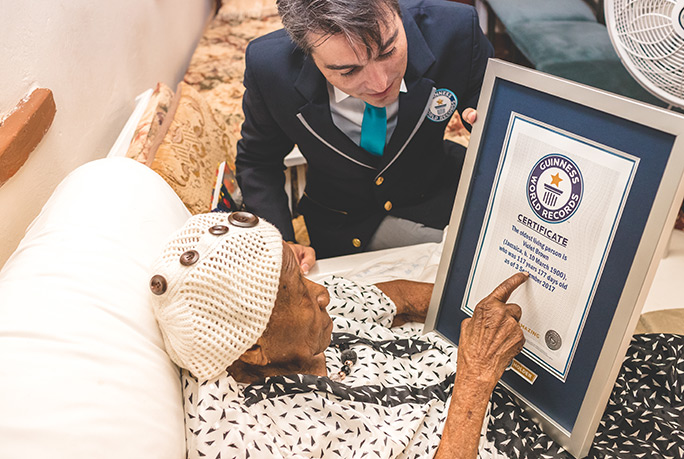 Violet Brown presented with Guinness World Records certificate