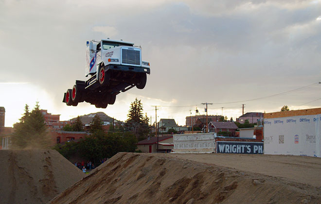 Longest ramp jump by a truck cab