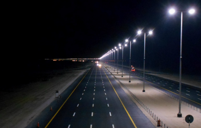 Most LED lamps installed on a public road