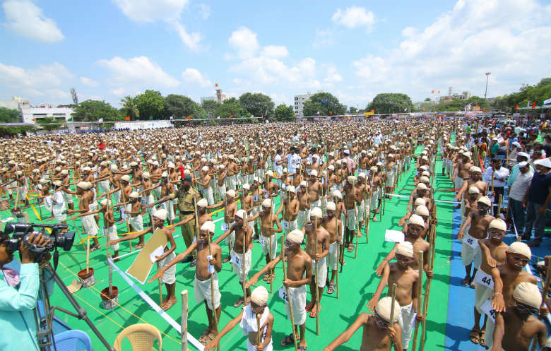 Largest gathering of people dressed as Mohandas Gandhi