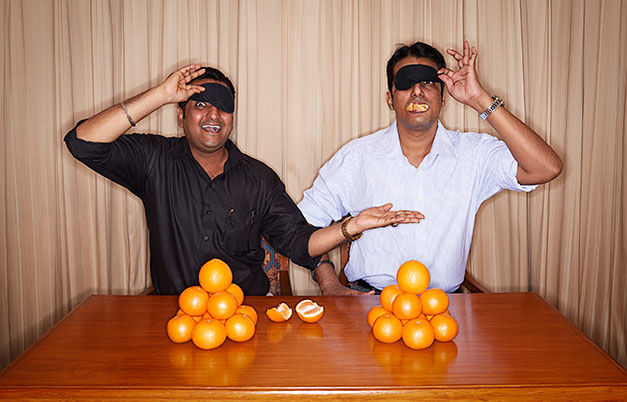 Fastest time to peel and eat an orange blindfolded (team of two)